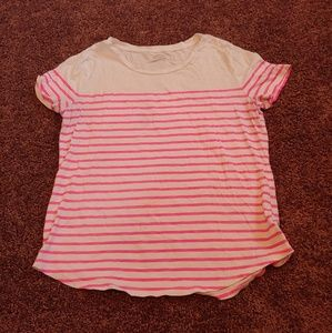 Old navy relaxed pink&white short sleeve shirt